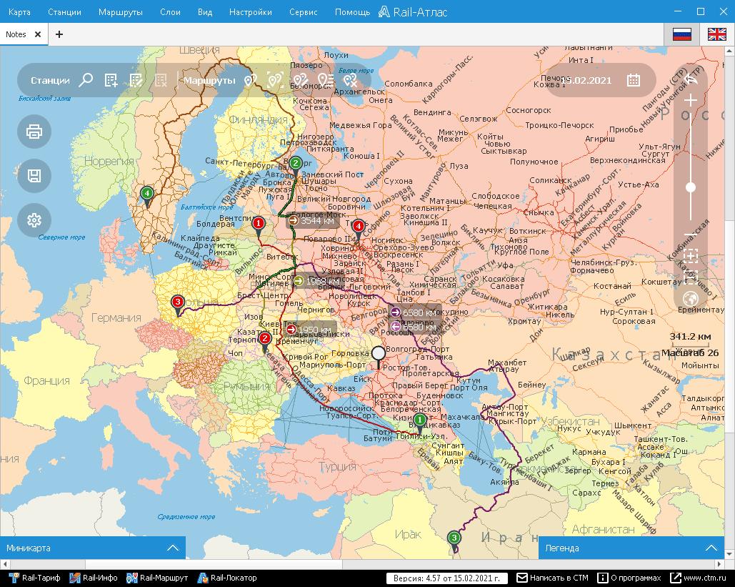 Rail-Атлас – маршруты на карте